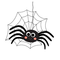 Black Spider with spider web animal cartoon character. Isolated on white background. Vector illustration.