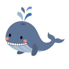 Blue Whale with water splash animal cartoon character. Isolated on white background. Vector illustration.