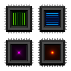 electronic chip glowing core vector EPS10