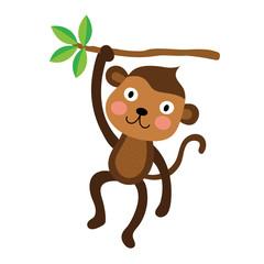 Cute Monkey animal cartoon character. Isolated on white background. Vector illustration.