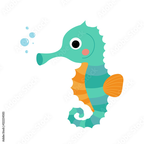 """Cute Seahorse animal cartoon character. Isolated on white ..."