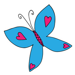 Butterfly with heart for tattoo, coloring book