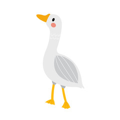 Goose animal cartoon character. Isolated on white background. Vector illustration.