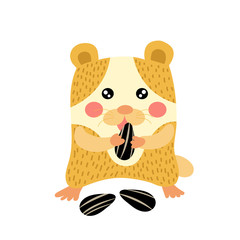 Hamster eating sunflower seeds animal cartoon character. Isolated on white background. Vector illustration.