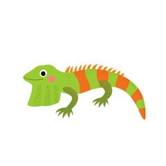 Iguana lizard reptile animal cartoon character. Isolated on white background. Vector illustration.