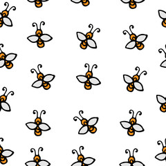 Seamless with drawn bee isolated on the white background