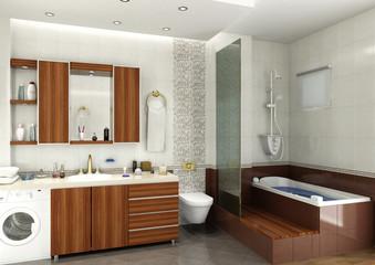 3D render of the building interior, bathroom design