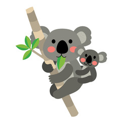 Koala bear and baby koala climbing tree animal cartoon character. Isolated on white background. Vector illustration.
