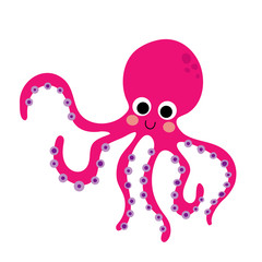Magenta Octopus animal cartoon character. Isolated on white background. Vector illustration.