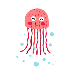 Pink Jellyfish animal cartoon character. Isolated on white background. Vector illustration.