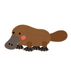Platypus animal cartoon character. Isolated on white background. Vector illustration.