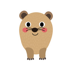Rock Hyrax animal cartoon character. Isolated on white background. Vector illustration.