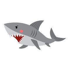 Shark animal cartoon character. Isolated on white background. Vector illustration.