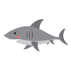 Shark side view animal cartoon character. Isolated on white background. Vector illustration.