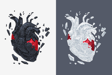 Stylized illustration of heart covered cracking with stone