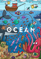 Detailed colorful illustration. Under water sea life