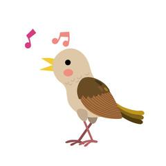Singing Nightingale Bird Animal Cartoon Character Isolated On White Background Vector Illustration