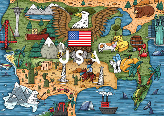 Funny Hand drawn Cartoon USA map with most popular places of interest
