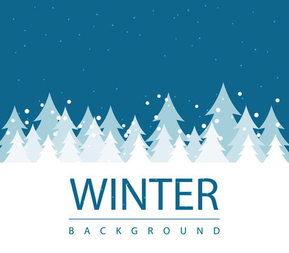 Winter season background with forest snow and blue sky. seasonal layout invitation poster. business abstract illustration concept. Vector decorative greeting card. winter flyer for advertisement