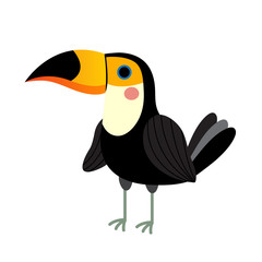 Standing Toucan bird animal cartoon character. Isolated on white background. Vector illustration.