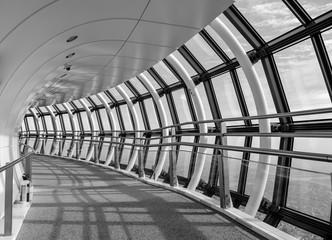 Beautiful steel corridor design in black and white shot.