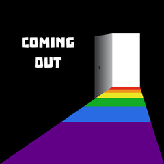 Coming out. Light coming out open door. National Coming Out Day