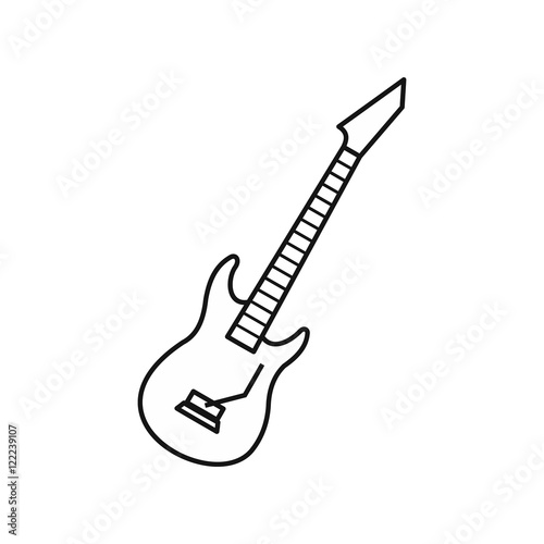 u0026quot electric guitar icon in outline style on a white background vector illustration u0026quot  stockfotos und
