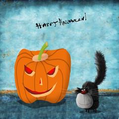 Halloween Card Black Cat Next To Huge Pumpkin