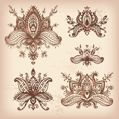 Vector hand drawn set of henna floral lotos elements based on tr