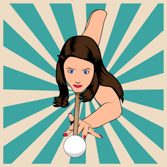 Beautiful woman plaing billiards. Vector illustration in vintage pop art style.
