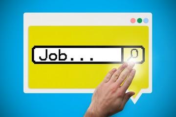 Hand touching job search bar