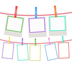 multicolored photo frames hanging on a rope with clothespins. vector