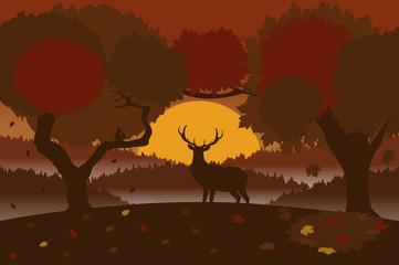 Autumn landscape with a deer