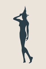 Vector illustration of standing young witch icon. Witch silhouette. Halloween relative image
