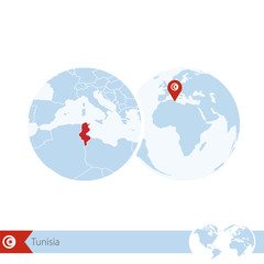 Tunisia on world globe with flag and regional map of Tunisia.