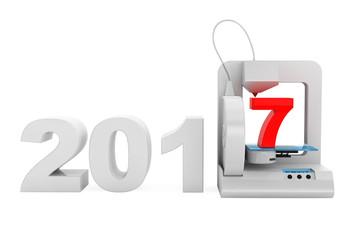 Modern Home 3d printer print New 2017 Year Sign. 3d Rendering