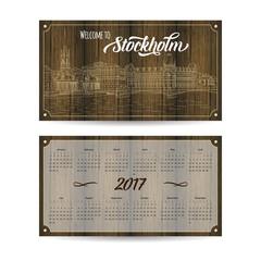 Calendar 2017 with city sketching Stockholm, Sweden