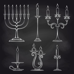 Hand drawn candles set on chalkboard vector illustration