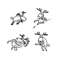 Vector illustration of a happy cartoon Christmas Reindeer
