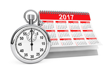 2017 year calendar with stopwatch. 3d Rendering