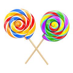 Rainbow Swirl Lollipops. 3d Rendering