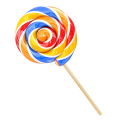 Rainbow Swirl Lollipop. 3d Rendering