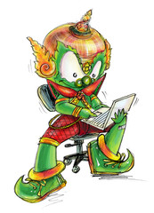 Thai Giant working on computer Lab top cartoon character Design