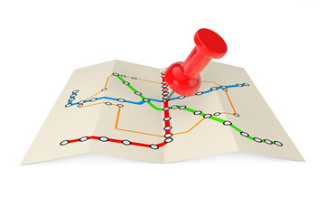 Abstract Transportation Metro or Subway Map with Red Push Pin. 3