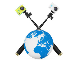 Small Ultra HD Action Cameras with Earth Globe. 3d Rendering