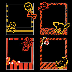 A set of Halloween photo frames for scrapbook, gift, items in orange, yellow, black and white colors.