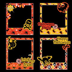 A set of Halloween photo frames for scrapbook, gift, with text and items in orange, yellow, black and white colors.