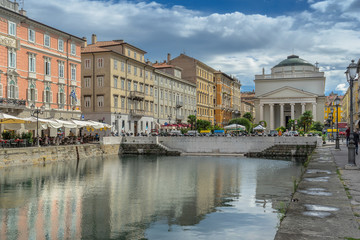 Looking down the Grand Canal in Trieste towards the church of San Antonio