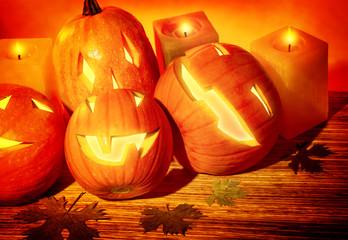 Halloween pumpkins still life