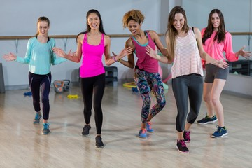 Group of women performing aerobics